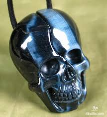 blue tiger s eye carved crystal skull