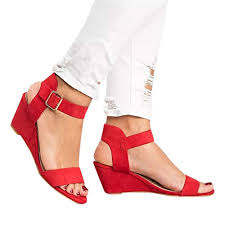 Summer Ladies Sandals Cssd Womens Fashion Solid Wedges Heel Buckle Strap Roman Shoes Sandals 7 5 Red