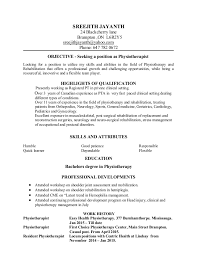 Resume Format For Physiotherapist Job Best Of SREEJITH RESUME PHYSIOTHERAPIST
