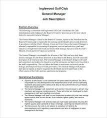 Resume For General Job General Manager Job Description