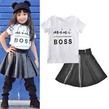 ems dhl free toddler girls children kids 2pc suit t shirt faux leather skirt letter