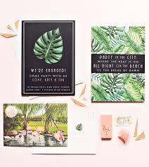 Tropical Party Invitations Tropical Art Deco Engagement Party Invitations