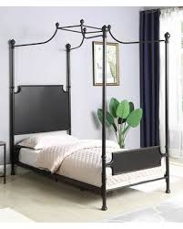 Coaster Cassidy Collection 302107T Twin Size Canopy Bed with Decorative Finials and Steel Metal Construction in Dark from AppliancesConnection | ...