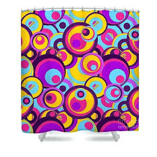 colorful shower curtains blue curtain bed bath and beyond retro circles groovy colors