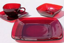 vintage royal ruby red glass dishes anchor hocking charm square plates cups bowls set for 4