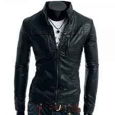 autumn style stand collar double zippers mens pu