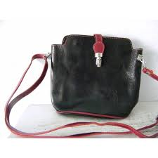 vigant red and black italian leather shoulder bag cross purse kitchengarden purses ruby lane