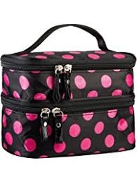 cosmetic bag makeup case double layer dot pattern portable waterproof wear resistance durable with 2 zipper