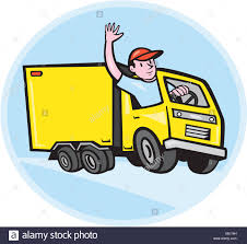 Delivery Truck Driver Waving Cartoon Stock Photo 282523293 Alamy