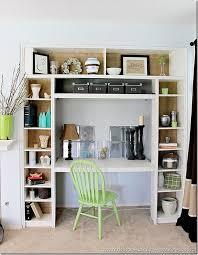 DIY bookshelf/desk made out of 3 Ikea bookshelves; love the inside back of