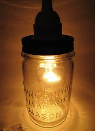 hanging light made from vintage brockway clear vu mason jar