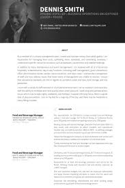 Food And Beverage Manager Resume Samples Visualcv Resume Samples
