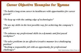 Resume Career Objective Samples Sample Career Objectives Examples
