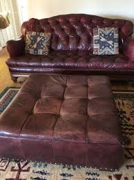 thomasville leather on tufted sofa from the british gentry collection