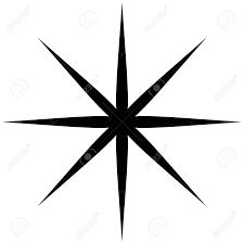 スター バーストサンバーストや輝きキラキラ図形要素のシルエット