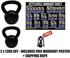 Fxr 2 X 12Kg Kettlebells Strength Training Home Gym Fitness ...