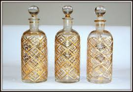 three turkish glass bottles and stoppers beykoz 19th century