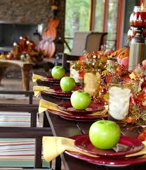 Creative Idea:Party Table Decorations With Halloween Decor And Green  Appless On Red Plates Fresh