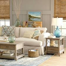 Sandy Beige and Blue Living Room chblissdesigns
