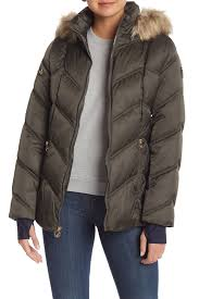 image of nautica faux fur trimmed hooded puffer coat with stretch