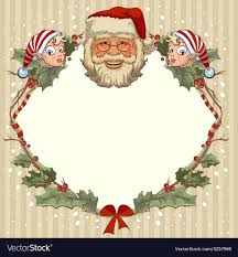 The Head Of Santa Claus And Gnome Template Cards