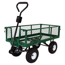 sunnydaze heavy duty steel dump utility garden cart with removable sides and 10 inch