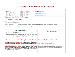 M02rev Lesson Plan Cutting Speed Effects On Math In Cte