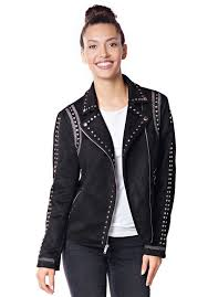 black faux suede studded moto jacket 1