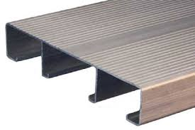 an uninstalled aluminum decking plank