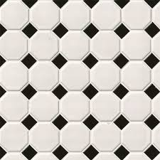white and black matte octagon decorative mosaic tile