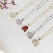 whole sterling silver cute lucky cat necklace 925 pink strawberry crystal pendant necklaces for women female necklaces pendants letter pendant