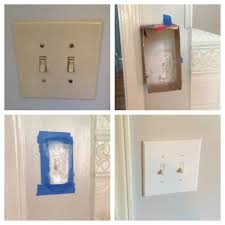 update your light switches and plates with white gloss spray paint