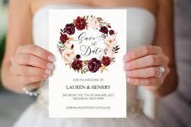 Winter Wedding Save The Date Burgundy Rose Wreath Wedding Save The Date Template Printable