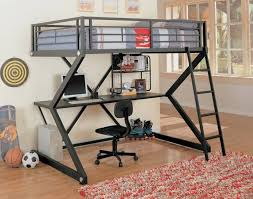 This scissor-frame metal bunk bed sports an ultra-modern look, with gunmetal