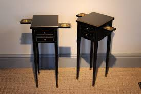 Very Smart And Small Pair Of S French Ebonised Bedside Tables