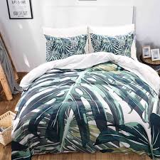 green palm tree bedding tropical bedding set green leaf duvet cover set queen
