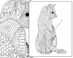 Small Picture cat coloring page advanced coloring page adult coloring
