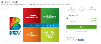groupon is offering a 50 bloomin brands gift card for 45 this can be used at outback carrabba s fleming s bonefish