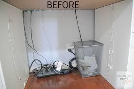 BEFORE: under desk cords are messy :: OrganizingMadeFun.com