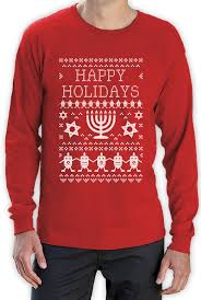 Happy Hanukkah Ugly Sweater Long Sleeve T-Shirt Funny Jewish ...