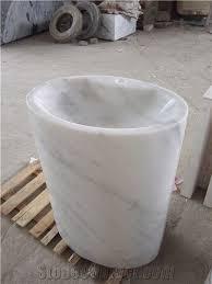 Marble pedestal sink Modern Bathroom Italian White Carrara Marble Pedestal Sink Marble Mosaics Italian White Carrara Marble Pedestal Sink Sink For Toilet Sink