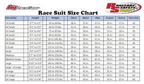 K1 Suit Size Chart