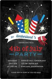 Cheerful Fireworks Fourth Of July Party Invitation
