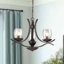 glass bubble wrought iron rustic chandeliers 3 lights rust bronze finish