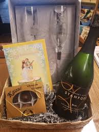 savage at hei bay resort congratulate some newlyweds with a wedding gift basket