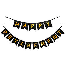 retirement banner clipart amazon com innoru happy retirement banner black and gold party