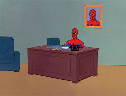spiderman computer desk meme template