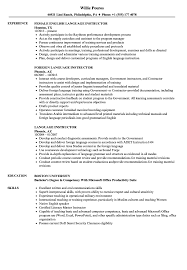 Language Instructor Resume Samples Velvet Jobs