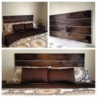 Make your own darkwood headboard, so easy - literally just 4 planks of wood.