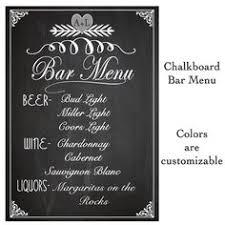 wedding drink menu. Wedding Chalkboard Sign Bar Drink Menu List all Drink Options to